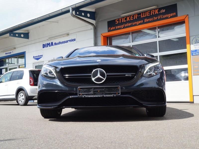 AMG S-Coupe Ansicht Knautschzone und Kühlergrill nach Folierung