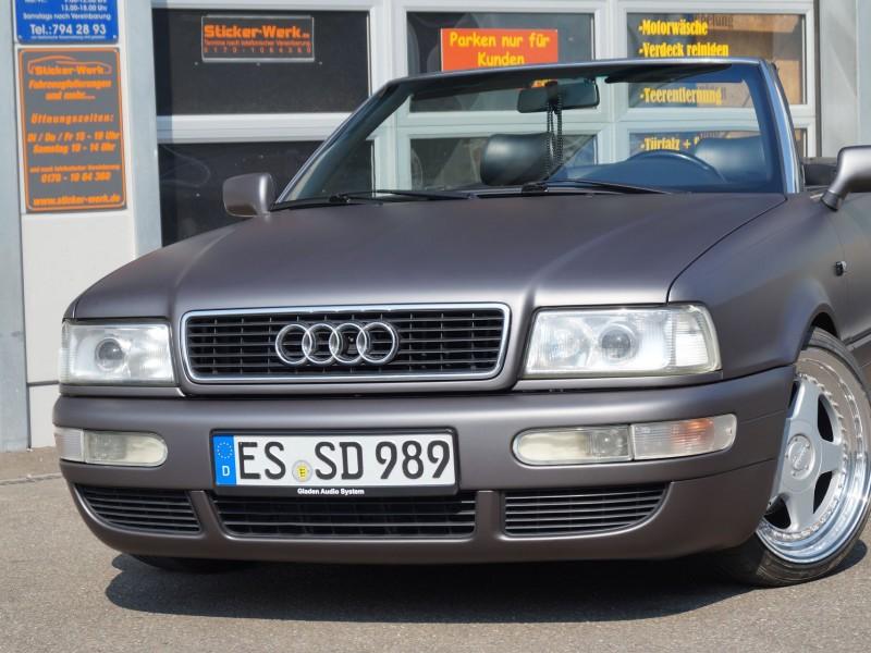 Audi 80 Cabrio Komplett-Folierung in Anthrazitmetallic Matt für Pforzheim und Ulm
