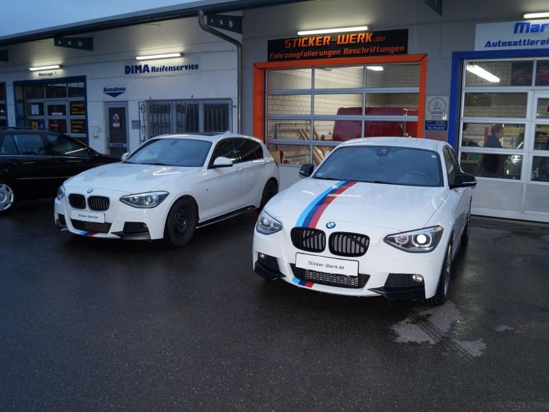 Zwei BMW 1er M Performance nach Teilfolierung
