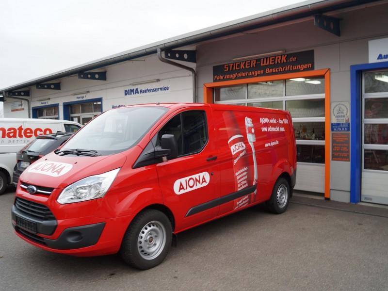 Fahrzeugfolierung Ford Transit Custom für Ajona in Pforheim und Ulm
